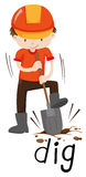 Trabalhador da construção que escava a terra ilustração do vetor