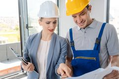 Trabalhador da constru??o e arquiteto que olham o plano no local imagens de stock royalty free