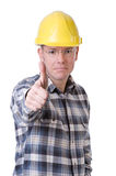 Trabalhador da construção com polegares acima Imagem de Stock Royalty Free