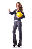 Trabalhador da construção da mulher com capacete de segurança Fotografia de Stock