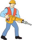 Trabalhador da construção Holding Jackhammer Cartoon Fotos de Stock