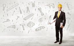 Trabalhador da construção que aplana com ícones tirados mão da ferramenta Imagens de Stock Royalty Free