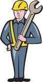 Trabalhador da construção Spanner Cartoon Imagens de Stock