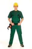 Trabalhador da construção, verde Fotografia de Stock
