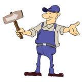 Trabalhador da estrada com ponteiro Imagens de Stock Royalty Free