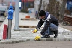 Trabalhador da pedra de pavimentação Imagens de Stock