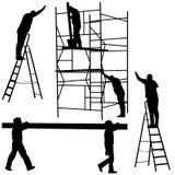 Trabalhador da silhueta que escala a escada Ilustração do vetor Fotografia de Stock Royalty Free