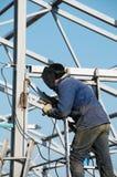 Trabalhador da soldadura de arco elétrico Fotografia de Stock