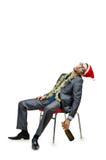Trabalhador de escritório bêbedo após o Natal foto de stock royalty free