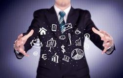 Trabalhador de escritório com ícones tirados na palma Imagens de Stock Royalty Free