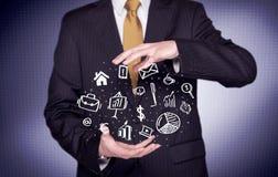 Trabalhador de escritório com ícones tirados na palma Imagem de Stock