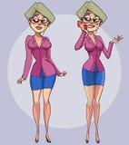 Trabalhador de escritório consideravelmente fêmea dos desenhos animados com um smartphone à disposição Fotos de Stock Royalty Free