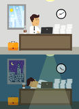 Trabalhador de escritório dia e noite Foto de Stock Royalty Free