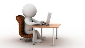 trabalhador de escritório dos desenhos animados 3d Fotos de Stock Royalty Free