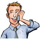Trabalhador de escritório dos desenhos animados no telefone Imagens de Stock