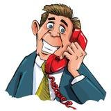 Trabalhador de escritório dos desenhos animados no telefone Imagens de Stock Royalty Free
