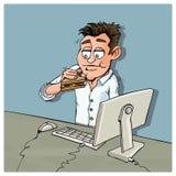 Trabalhador de escritório dos desenhos animados que come o luch Fotografia de Stock