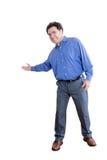 Trabalhador de escritório feliz que mostra um gesto bem-vindo Fotografia de Stock Royalty Free
