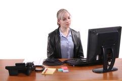 Trabalhador de escritório furado imagens de stock royalty free