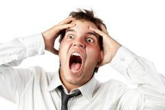 Trabalhador de escritório louco gritar do esforço isolado Fotografia de Stock Royalty Free