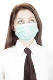 Trabalhador de escritório na máscara da gripe Imagens de Stock