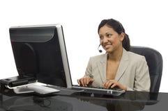 Trabalhador de escritório no branco Imagem de Stock