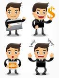 Trabalhador de escritório engraçado dos desenhos animados com promoções de venda mim Imagens de Stock