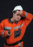 Trabalhador de mina que sweaping Fotos de Stock