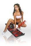 Trabalhador de mulher 'sexy' com chave inglesa Fotografia de Stock