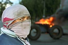 Trabalhador de protesto de Argentina do close up no corte de estrada imagens de stock royalty free