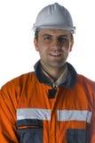 Trabalhador de sorriso isolado no branco Fotografia de Stock Royalty Free