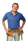 Trabalhador de sorriso no branco Imagens de Stock