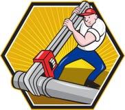 Trabalhador do canalizador com desenhos animados da chave ajustável ilustração royalty free