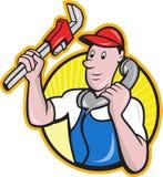 Trabalhador do canalizador com o telefone da chave ajustável ilustração royalty free