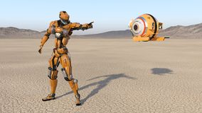 Trabalhador do Cyborg com o zangão que aponta, robô do voo do humanoid com aviões de fiscalização explorando o planeta abandonado ilustração stock