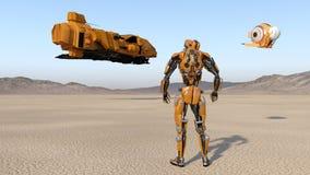 Trabalhador do Cyborg com o zangão que olha a nave espacial do voo, robô do humanoid com nave espacial explorando o planeta aband ilustração stock