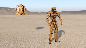 Trabalhador do Cyborg com o zangão do voo, robô do humanoid com aviões de fiscalização explorando o planeta abandonado, androide  ilustração stock