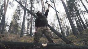 Trabalhador do lenhador que está na floresta com machado e serra de cadeia filme