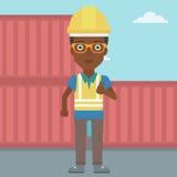 Trabalhador do porto que fala no rádio sem fio ilustração do vetor