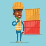 Trabalhador do porto que fala no rádio sem fio ilustração royalty free