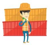 Trabalhador do porto que fala no rádio sem fio ilustração stock