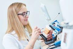 Trabalhador do técnico dental ou da prótese Processo protético da odontologia fotografia de stock