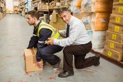 Trabalhador do treinamento do gerente para a medida de saúde e de segurança foto de stock royalty free