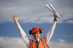 Trabalhador exaltado Imagens de Stock Royalty Free
