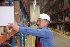 Trabalhador experiente com a caixa no armazém Imagens de Stock