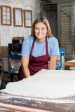 Trabalhador fêmea feliz com folhas de papel Foto de Stock