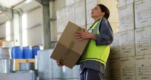 Trabalhador fêmea que sofre da dor nas costas ao guardar a caixa pesada 4k