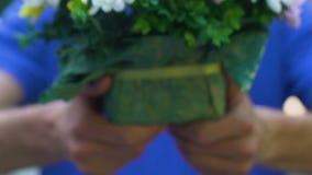 Trabalhador Floristic da entrega que guarda o ramalhete bonito das flores, entrega a domicílio video estoque