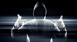 Trabalhador futurista do Cyberspace do computador foto de stock
