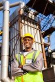 Trabalhador industrial do óleo fotografia de stock